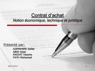 Contrat d'achat Notion économique, technique et juridique