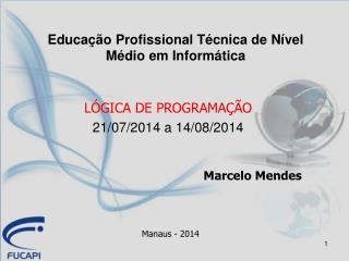 LÓGICA DE PROGRAMAÇÃO 21/07/2014 a 14/08/2014