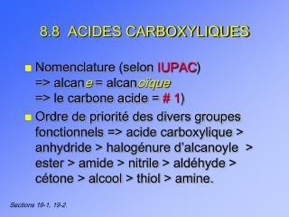 8.8  ACIDES CARBOXYLIQUES
