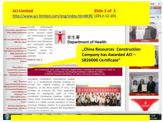 ACI Limited				Slide 1  of   2 aci-limited/eng/index.htm#CRC  (2012-12-20)
