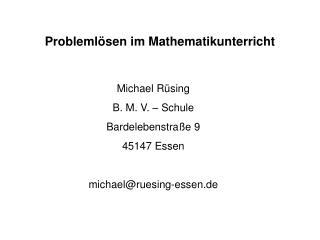 Problemlösen im Mathematikunterricht