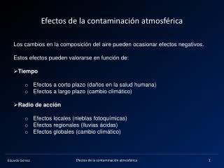 Efectos de la contaminaci�n atmosf�rica