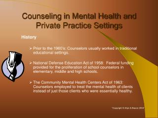 Counseling in Mental Health and Private Practice Settings ...