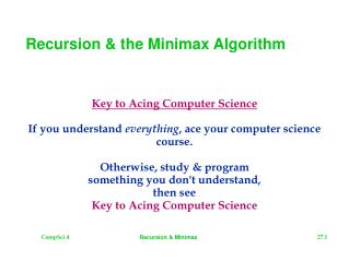 Recursion & the Minimax Algorithm