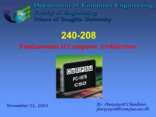 240-208 Fundamental of Computer Architecture