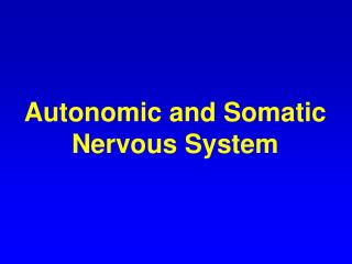 Autonomic and Somatic Nervous System