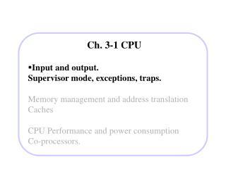 Ch. 3-1 CPU