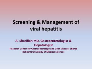 Screening & Management of viral hepatitis