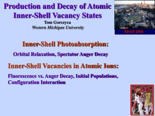 Production and Decay of Atomic Inner-Shell Vacancy States   Tom Gorczyca  Western Michigan University