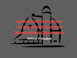 Agricultural Enterprises: An Important  Economic Development  Opportunity