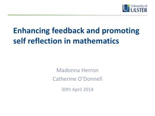 Enhancing feedback and promoting self reflection in mathematics