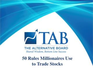 50 Rules Millionaires Use  to Trade Stocks