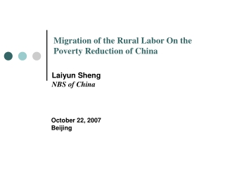 Migration of the Rural Labor On the Poverty Reduction of China