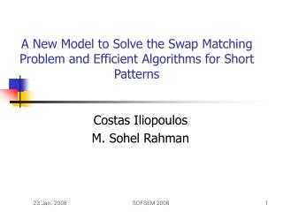 A New Model to Solve the Swap Matching Problem and Efficient Algorithms for Short Patterns