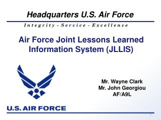 Air Force Joint Lessons Learned Information System (JLLIS)