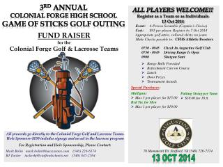 For Registration and Hole Sponsorship, Please Contact: