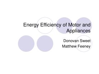 Energy Efficiency of Motor and Appliances