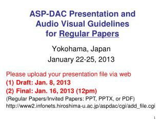 ASP-DAC Presentation and Audio Visual Guidelines for  Regular Papers