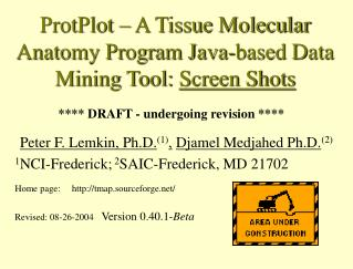 ProtPlot – A Tissue Molecular Anatomy Program Java-based Data Mining Tool:  Screen Shots