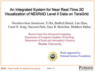 An Integrated System for Near Real-Time 3D Visualization of NEXRAD Level II Data on TeraGrid