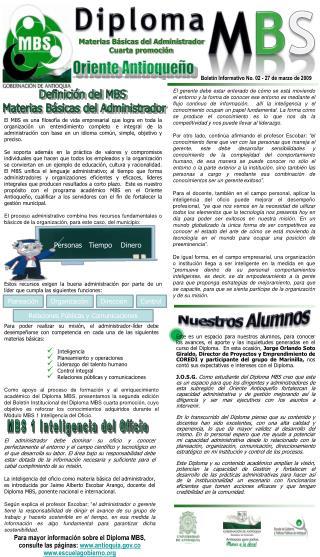Boletín Informativo No. 02 -  27 de marzo de 2009