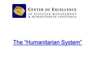 "The ""Humanitarian System"""