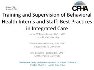 Training and Supervision of Behavioral Health Interns and Staff: Best Practices in Integrated Care