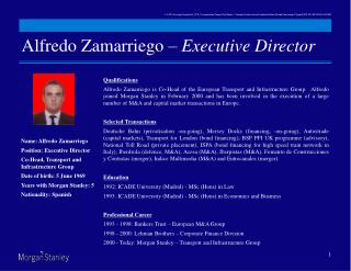 Alfredo Zamarriego –  Executive Director