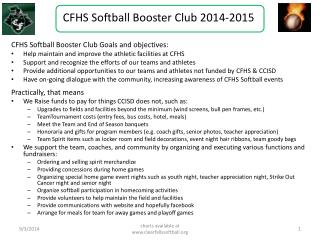 CFHS Softball Booster Club 2014-2015