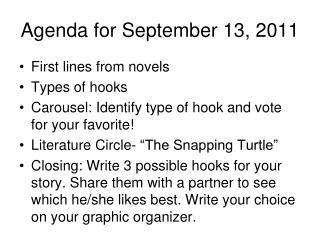 Agenda for September 13, 2011