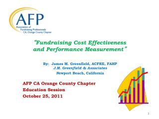 """ Fundraising Cost Effectiveness and Performance Measurement """