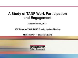 A Study of  TANF  Work Participation and Engagement
