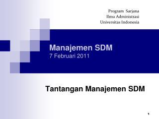 Manajemen SDM 7 Februari 2011