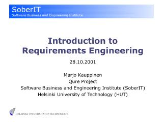 Introduction to Requirements Engineering