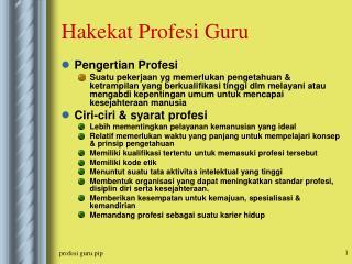 Hakekat Profesi Guru