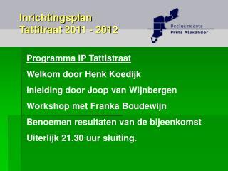 Programma IP Tattistraat  Welkom door Henk Koedijk Inleiding door Joop van Wijnbergen