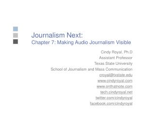 Journalism Next: Chapter 7: Making Audio Journalism Visible