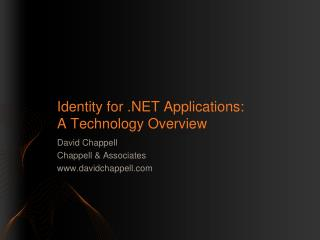 Identity for  Applications:  A Technology Overview