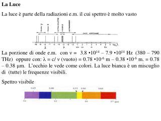 La Luce La luce è parte della radiazioni e.m. il cui spettro è molto vasto