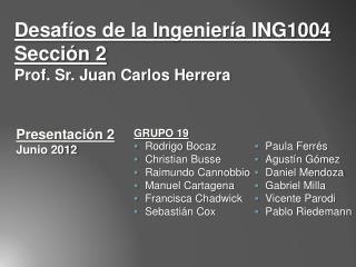 Desafíos de la Ingeniería ING1004  Sección 2 Prof. Sr. Juan Carlos Herrera