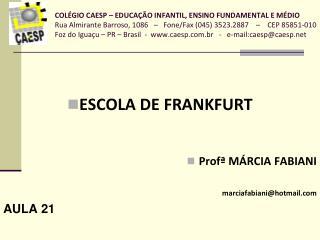 ESCOLA DE FRANKFURT Profª MÁRCIA FABIANI marciafabiani@hotmail AULA 21