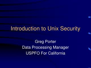 Introduction to Unix Security