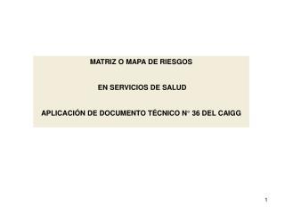 MATRIZ O MAPA DE RIESGOS   EN SERVICIOS DE SALUD APLICACIÓN DE DOCUMENTO TÉCNICO N° 36 DEL CAIGG