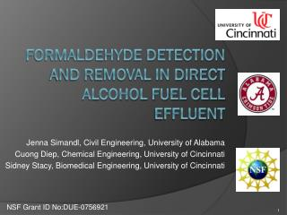 Formaldehyde detection and removal in direct alcohol fuel cell effluent