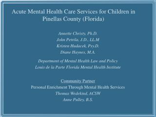 Acute Mental Health Care Services for Children in Pinellas County Florida