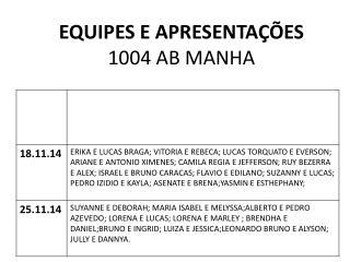 EQUIPES E APRESENTAÇÕES 1004 AB MANHA