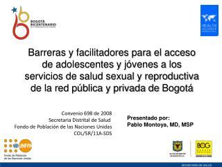 Convenio 698 de 2008 Secretaria Distrital de Salud  Fondo de Población de las Naciones Unidas