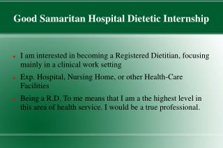 Good Samaritan Hospital Dietetic Internship
