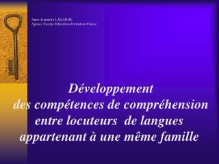 Anne-Jeannette LAGARDE  Agence Europe Education Formation France