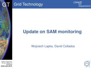 Update on  SAM monitoring